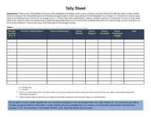 CDC's Vaccine Stock Tally Sheet